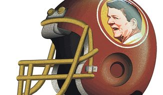 Illustration on renaming the Redskins the Washington Reagans by Alexander Hunter/ The Washington Times