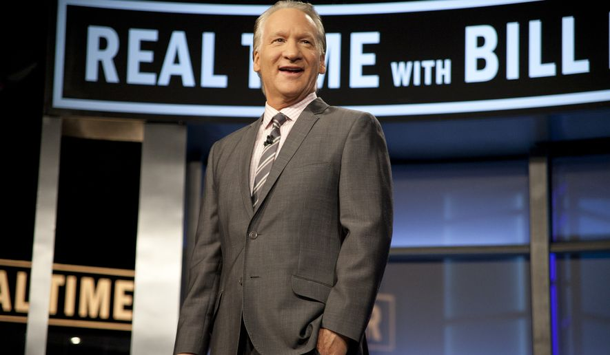 "Bill Maher is shown during the broadcast of the HBO political series ""Real Time With Bill Maher"" in Los Angeles on Feb. 10, 2012. (Associated Press/HBO) **FILE**"