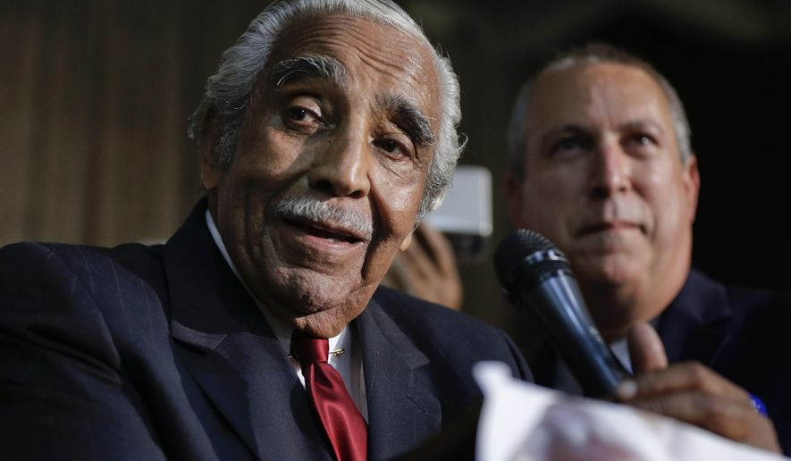 Rep. Charles Rangel, D-N.Y., speaks at his primary election night gathering, Tuesday, June 24, 2014, in New York. (AP Photo/Julie Jacobson) ** FILE **