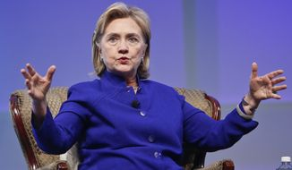 Former Secretary of State Hillary Rodham Clinton speaks during a question and answer session at the BIO International Convention Wednesday, June 25, 2014, in San Diego.  (Associated Press) ** FILE **