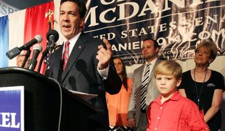 Chris McDaniel addresses his supporters after falling behind in a heated GOP primary runoff election against incumbent U.S. Senator Thad Cochran on Tuesday June 24, 2014, at the Lake Terrace Convention Center in Hattiesburg, Miss. (AP Photo/George Clark)