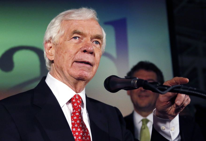 U.S. Sen. Thad Cochran, R-Miss., addresses supporters and volunteers at his runoff election victory party Tuesday, June 24, 2014, at the Mississippi Children's Museum in Jackson, Miss. (AP Photo/Rogelio V. Solis) ** FILE **