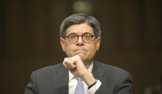 **FILE** Treasury Secretary Jacob Lew testifies on Capitol Hill in Washington on June 25, 2014, before the Senate Committee hearing to examine the Financial Stability Oversight Council annual report to Congress. (Associated Press)