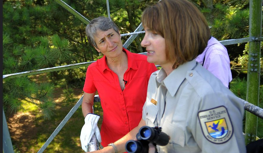 """U.S. Interior Secretary Sally Jewell, left, listens to U.S. Fish and Wildlife Service refuge manager Kimberly Hayes, right, while in a look-out tower during a tour of the Harris Neck National Wildlife Refuge in Townsend, Ga., Thursday, June 26, 2014. Jewell announced Thursday that the federal government is upgrading the wood stork to a """"threatened"""" species, a step up from endangered that indicates the birds are no longer considered at risk of extinction. (AP Photo/Stephen B. Morton)"""