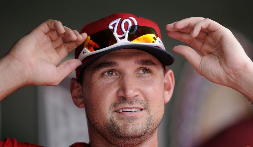 Washington Nationals' Ryan Zimmerman looks on during a baseball game against the Atlanta Braves, Sunday, June 22, 2014, in Washington. The Nationals won 4-1. (AP Photo/Nick Wass)