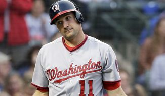 Washington Nationals' Ryan Zimmerman reacts after tagging out by Chicago Cubs catcher Welington Castillo at home during the second inning of a baseball game in Chicago, Thursday, June 26, 2014. (AP Photo/Nam Y. Huh)