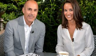 "This undated image released by NBC shows Matt Lauer, co-host of the ""Today"" show with Pippa Middleton in London. (AP Photo.NBC, Anthony Harvey) ** FILE **"