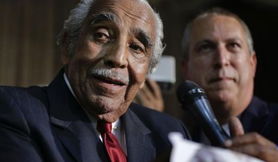 Rep. Charlie Rangel D-N.Y., speaks at his primary election night gathering, Tuesday, June 24, 2014, in New York. (AP Photo/Julie Jacobson)
