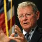 Sen. James M. Inhofe, Oklahoma Republican, said President Obama's liberal spending on green initiatives is at the expense of a robust and ready U.S. military. He is looking for ways to change that. (Associated Press)