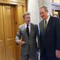 Sen. Mike Crapo (right), Idaho Republican, confers with Sen. Rand Paul, Kentucky Republican. He aims to revamp a $10 trillion mortgage market, the largest piece of unfinished business from the 2008 credit crisis. (Associated press)