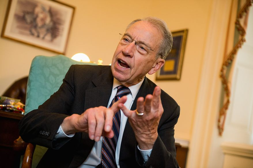 """""""These whistleblowers never have the opportunity to make their case,"""" said Sen. Chuck Grassley, Iowa Republican. """"It's stereotypical treatment of whistleblowers for the executive branch."""" (Andrew Harnik/The Washington Times)"""