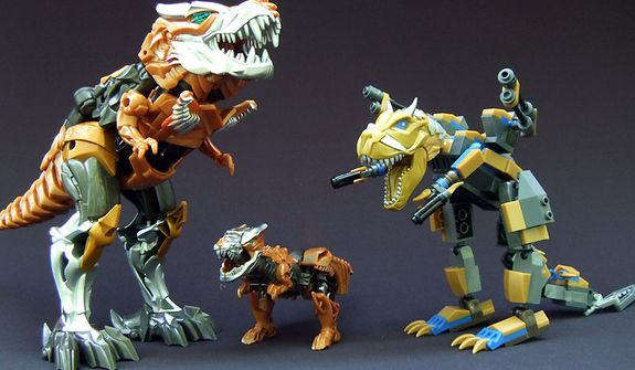 Flip and Change Grimlock, One-Step Grimlock and Kre-O Grimlock from Hasbro's Transformers: Age of Extinction collection. (Photo by Joseph Szadkowski/The Washington Times)