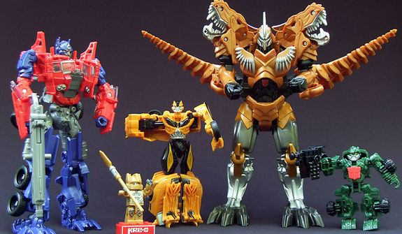 Hasbro's Transformers: Age of Extinction collections feature a variety of Autobots, Dinobots and Decepticons for children to build, transform and role play with. (Photo by Joseph Szadkowski/The Washington Times)