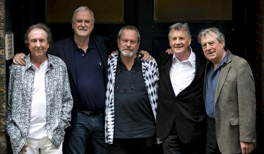From left, Eric Idle, John Cleese, Terry Gilliam, Michael Palin and Terry Jones of the comedy group Monty Python pose for photographers during a photo call in London Monday, June 30, 2014, to promote their reunion for a series of concerts. The group had its first big success with the Monty Python's Flying Circus TV show, which ran from 1969 until 1974, winning fans around the world with its bizarre sketches. (Photo by John Phillips Invision/AP Images)