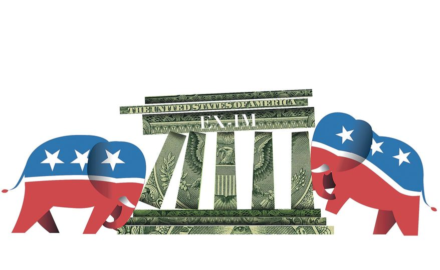 Illustration on GOP conflicts over renewing the charter of the Export-Import Bank by Linas Garsys/The Washington Times