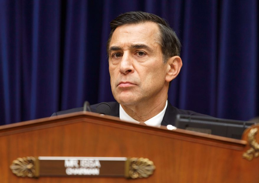 ** FILE ** Rep. Darrell Issa, R-Calif., the chairman of the House Oversight Committee, questions Internal Revenue Service Commissioner John Koskinen as lawmakers continue their probe of whether tea party groups were improperly targeted for increased scrutiny by the IRS, on Capitol Hill in Washington, Monday, June 23, 2014. (AP Photo/J. Scott Applewhite)