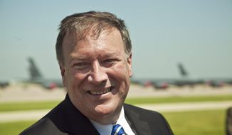 Representative Mike Pompeo at the KC-46A groundbreaking at McConnell Air Force Base in Wichita, Kan., Monday, June 30, 2014. (AP Photo/The Wichita Eagle, Mike Hutmacher)