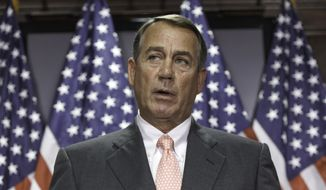 ** FILE ** This June 24, 2014, file photo shows House Speaker John Boehner of Ohio speaking on Capitol Hill in Washington. (AP Photo/J. Scott Applewhite, File)