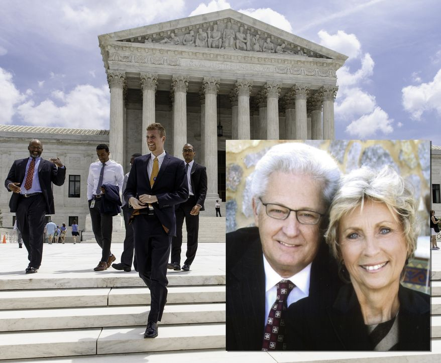 Hobby Lobby Stores Inc. co-founders David and Barbara Green who are asking a federal appeals court in Denver on Thursday, May 23, 2013,  for an exemption from part of the federal health care law that requires it to offer employees health coverage that includes access to the morning-after pill.  The Oklahoma City-based arts-and-crafts chain argues that businesses, and not just religious groups, should be allowed to seek exemptions from that part of the health law if it violates their religious beliefs.  PHOTO ILLUSTRATION/ AP Photos