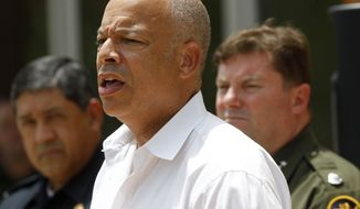 United States Secretary of Homeland Security Jeh Johnson speaks at a press conference in Edinburg, Texas, on June 30, 2014. Johnson said he is sending an additional 150 Border Patrol agents to the Rio Grande Valley Sector to help with a recent spike in immigrants from Central America crossing the border through the area. (Associated Press/The Monitor, Nathan Lambrecht)