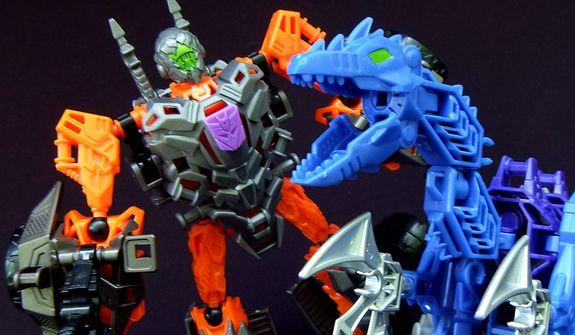 Hasbro's Contruct-Bots Dinobot Warriors feature the bounty hunter Lockdown and mechanized raptor Hangnail. (Photo by Joseph Szadkowski/The Washington Times)