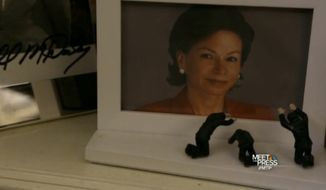 "Valerie Jarrett's framed photo as shown on NBC's ""Meet the Press."""