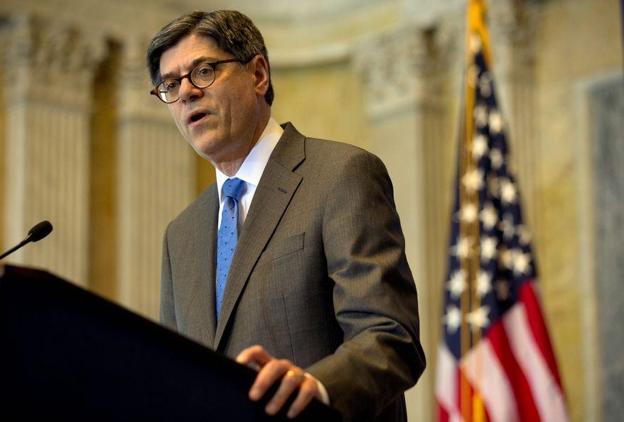 ** FILE ** Treasury Secretary Jack Lew. (Associated Press)