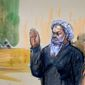This artist's rendering depicts United States Magistrate Judge John Facciola swearing in Libyan militant Ahmed Abu Khatallah, who is flanked by his attorney, Michelle Peterson, during a hearing at the federal U.S. District Court in Washington. He pled not guilty to conspiracy Saturday, his first appearance in U.S. court. The hearing of the Libyan, accused of masterminding the deadly Benghazi attacks, lasted ten minutes. (associated press)