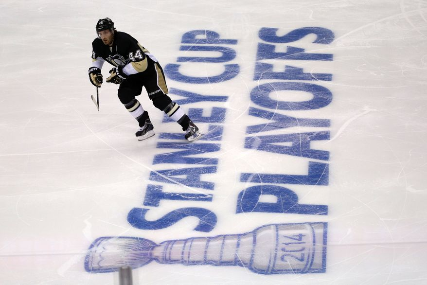 Pittsburgh Penguins' Brooks Orpik (44) skates during the first period of a first-round NHL playoff hockey game against the Columbus Blue Jackets in Pittsburgh Wednesday, April 16, 2014. The Penguins won 4-3. (AP Photo/Gene J. Puskar)