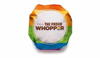 """This undated image provided by Burger King shows the Proud Whopper. Once opened up, a message inside the wrapper states, """"We are all the same inside."""" (Associated Press/Burger King)"""