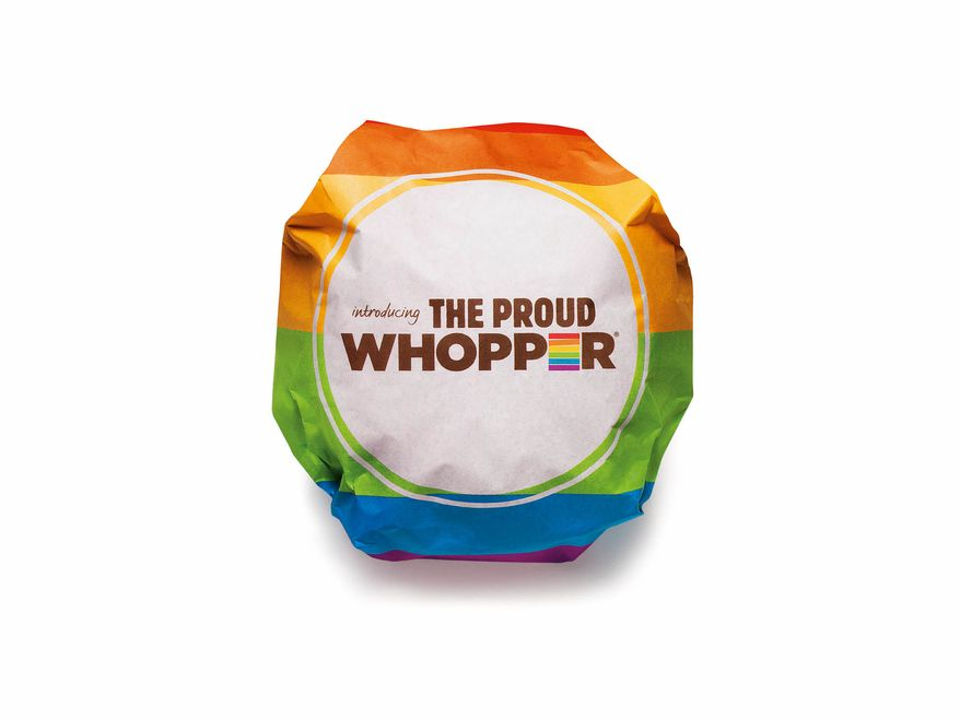 "This undated image provided by Burger King shows the Proud Whopper. Once opened up, a message inside the wrapper states, ""We are all the same inside."" (Associated Press/Burger King)"