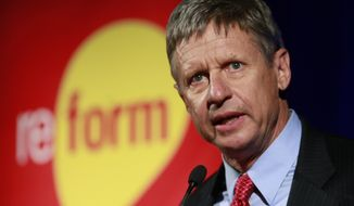 Former New Mexico Gov. Gary Johnson addresses the 2011 Drug Policy Alliance conference in Los Angeles in this Nov. 3, 2011, file photo. (AP Photo/Damian Dovarganes, File)