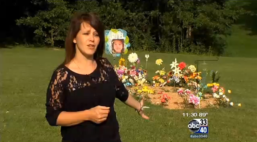 Johnna Harvard, the mother of a 5-year-old Alabama boy who was killed in April by a pit bull, says was terrorized by a different pit bull while visiting her son's gravesite on Sunday. (ABC 3340)