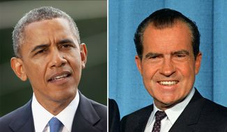 President Obama and former President Nixon. AP Photo