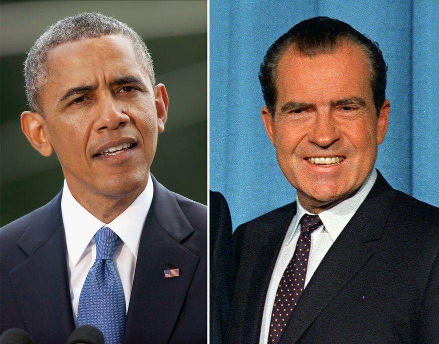 President Obama and former President Nixon. AP Photo