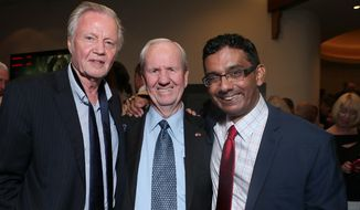 "Jon Voight, producer Gerald Molen and writer director Dinesh D'Souza at the Monday night premier of ""America: Imagine the World Without Her"". (Image from Dinesh D'Souza)"