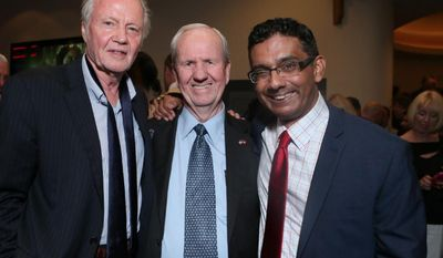 """Jon Voight, producer Gerald Molen and writer director Dinesh D'Souza at the Monday night premier of """"America: Imagine the World Without Her"""". (Image from Dinesh D'Souza)"""