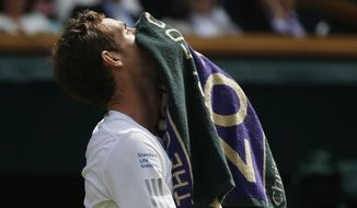 Andy Murray of Britain wipes his face with a towel as he walks back to his chair in a game break as he plays against Grigor Dimitrov of Bulgaria during their men's singles quarterfinal match at the All England Lawn Tennis Championships in Wimbledon, London, Wednesday, July 2, 2014. (AP Photo/Pavel Golovkin)