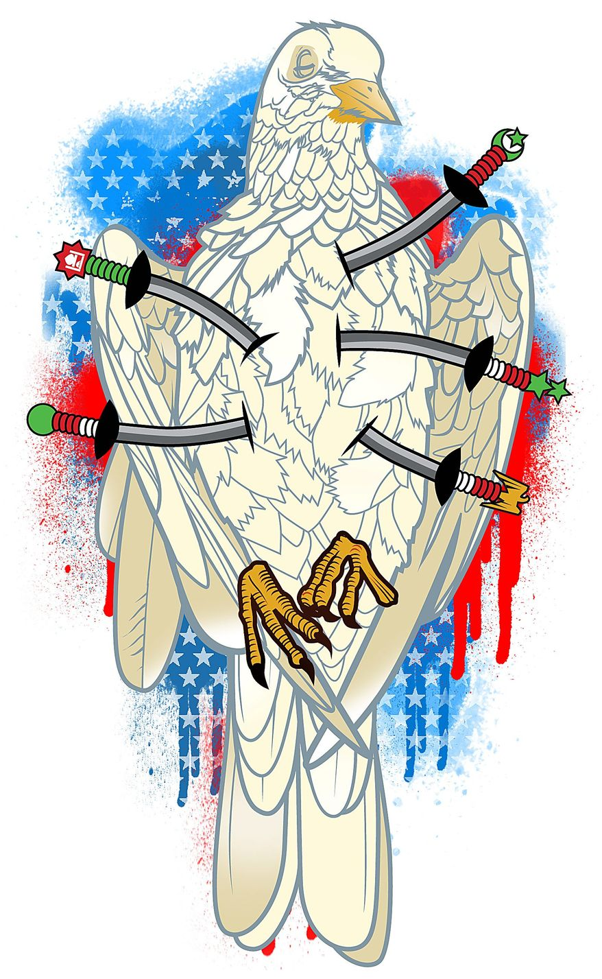 Illustration on the collapse of peace in Iraq by Linas Garsys/The Washington Times