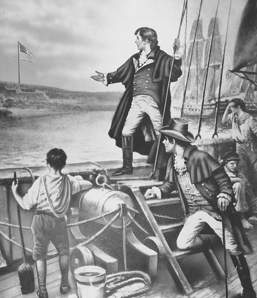 "This painting depicts Francis Scott Key seeing the American flag flying over Fort McHenry in Baltimore Harbor the day after he witnessed the British bombardment of the fort in the War of 1812.  This sighting inspired the poet to write ""The Star-Spangled Banner,"" which became the official United States national anthem in 1931.  (AP Photo)"