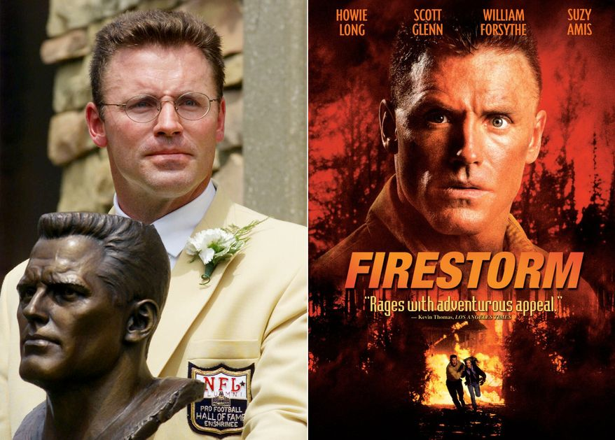 Former Oakland Raiders great Howie Long poses with his bust after enshrinement in the Pro Football Hall of Fame Saturday, July 29, 2000, in Canton, Ohio. Long starred in several films including War Games (2001), Broken Arrow 91996) and Firestorm (1998). (AP Photo)