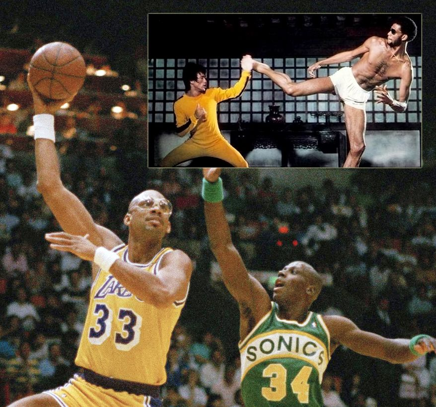 Kareem Abdul-Jabbar played the center position and is regarded as one of the best of all time. He is the all-time leading NBA scorer with 38,387 points, having collected six championship rings, six regular season MVP and two Finals MVP awards, fifteen NBA First or Second Teams, a record nineteen NBA All-Star call-ups and averaging 24.6 points, 11.2 rebounds, 3.6 assists and 2.6 blocks per game. He is ranked as the NBA's third leading all-time rebounder (17,440). He is also the third all-time in registered blocks (3,189), which is even more impressive because this stat had not been recorded until the fourth year of his career (1974). Abdul-Jabbar appeared in numerous films and TV shows including the satirical comedy Airplane and was in the memorable fight