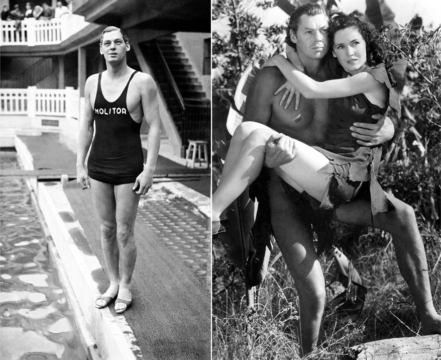 "Olympic gold medal winning swimmer and actor Johnny Weissmuller, in his swimming costume pictured around June 3, 1930. Johnny Weissmuller best known for his role as Tarzan seen here with Maureen O'Sullivan is Jane in this scene from the 1936 movie ""Tarzan Escapes."" . (AP Photo)"