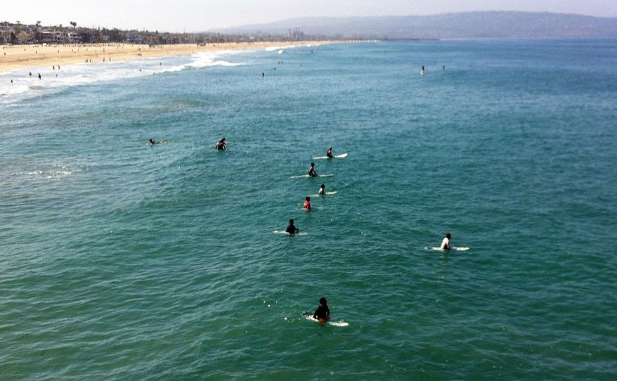 """Surfers and swimmers return to the ocean Sunday, July 6, 2014, one day after a swimmer was bitten by a great white shark off the Southern California beach city of Manhattan Beach, Calif. Steven Robles was in the water off Manhattan Beach when the 7-foot (2.1-meter)-long juvenile shark suddenly appeared Saturday morning. He said the shark looked at him and """"locked into my chest."""" Robles was taken to shore and by Sunday morning had been released from the hospital. (AP Photo/John Antczak)"""