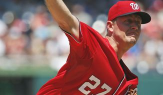 Washington Nationals starting pitcher Jordan Zimmermann throws during the third inning of a baseball game against the Chicago Cubs at Nationals Park, Sunday, July 6, 2014, in Washington. (AP Photo/Alex Brandon)