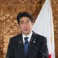 Japan's Prime Minister Shinzo Abe speaks during a joint press conference with New Zealand's Prime Minister John Key as he starts an official visit to New Zealand, at Government House, in Auckland, New Zealand, Monday, July 7, 2014.   (AP Photo/SNPA, David Rowland) NEW ZEALAND OUT