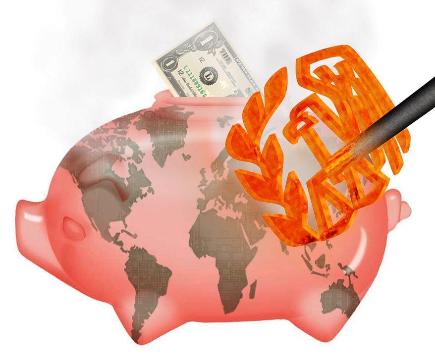 Illustration on U.S. overreach on international banks by Alexander Hunter/The Washington Times