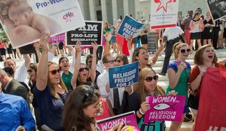 ** FILE ** Demonstrator react to hearing the Supreme Court's decision on the Hobby Lobby case outside the Supreme Court in Washington. The Supreme Court ruled that corporations can hold religious objections that allow them to opt out of the new health law requirement that employee insurance plans cover contraceptives for women. (Associated Press)