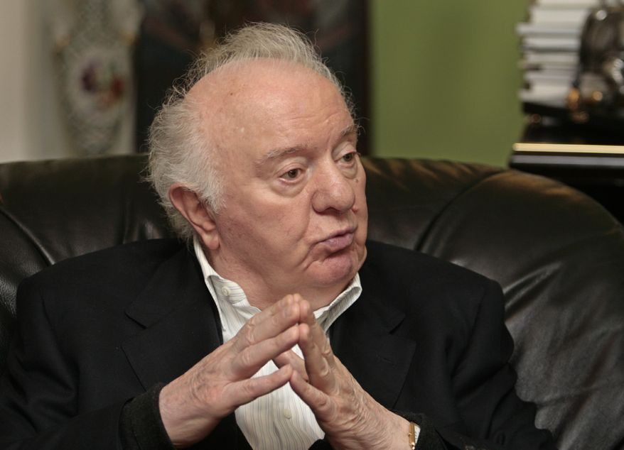 ** FILE ** In this Tuesday, May 12, 2009, file photo, Eduard Shevardnadze, former Georgian president and ex-Soviet foreign minister, speaks to The Associated Press in Tbilisi, Georgia. Shevardnadze died Monday, July 7, 2014, at the age of 86, his spokeswoman said. (AP Photo/Shakh Aivazov, file)