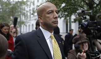 In this Wednesday, Feb. 12, 2014 photo, Former New Orleans Mayor Ray Nagin leaves federal court after his conviction in New Orleans. Nagin's steep descent from the days when he was seen as a fresh-faced reformer continues this week when he is sentenced in federal court on 20 criminal charges counts including bribery, money laundering and fraud on Wednesday, July 9. (AP Photo/Gerald Herbert)